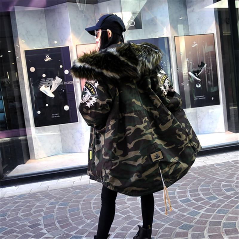 Survêtement Fourrure Veste À Camouflage Capuchon Renard Coton D'hiver Manteau Mode De Rembourré Chaud Col Parka Broderie Pour Armygreen Femmes ZTRRxwnFBq