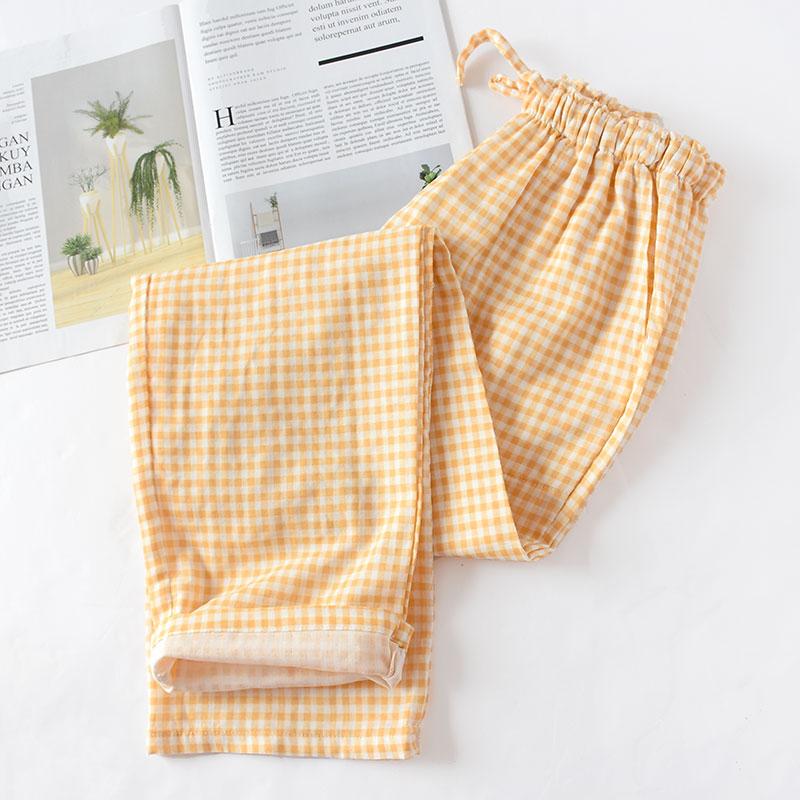 Весенние и летние домашние штаны для пары, женские хлопковые двойные газовые Тонкие штаны для сна, повседневные пижамы с принтом - Цвет: Brown plaid
