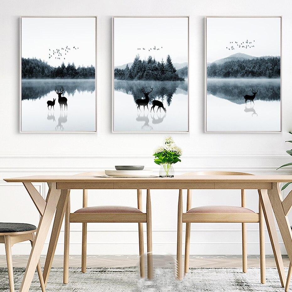 Cerf Paysage Toile Peinture Nordique Scandinavie Affiche et Imprimé Abstrait Mur Art Photo pour Salon Décor À La Maison Sans Cadre