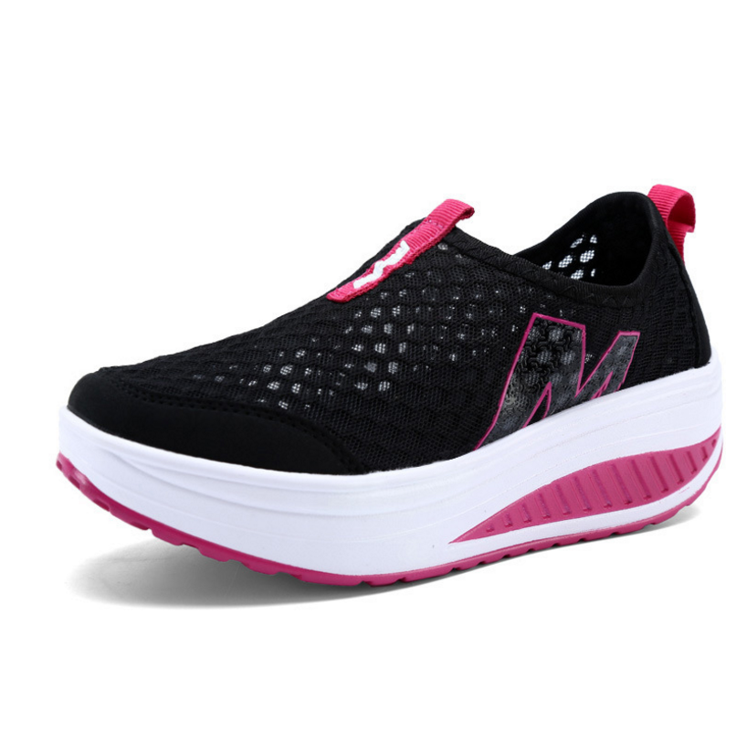 New Women's Shoes Casual Sport Fashion Shoes Walking Flats Height Increasing Women Loafers Breathable Air Mesh Swing Wedges Shoe minika women casual canvas shoes air cushion soles slip on swing fitness shoes platform wedges walking height increasing shoes