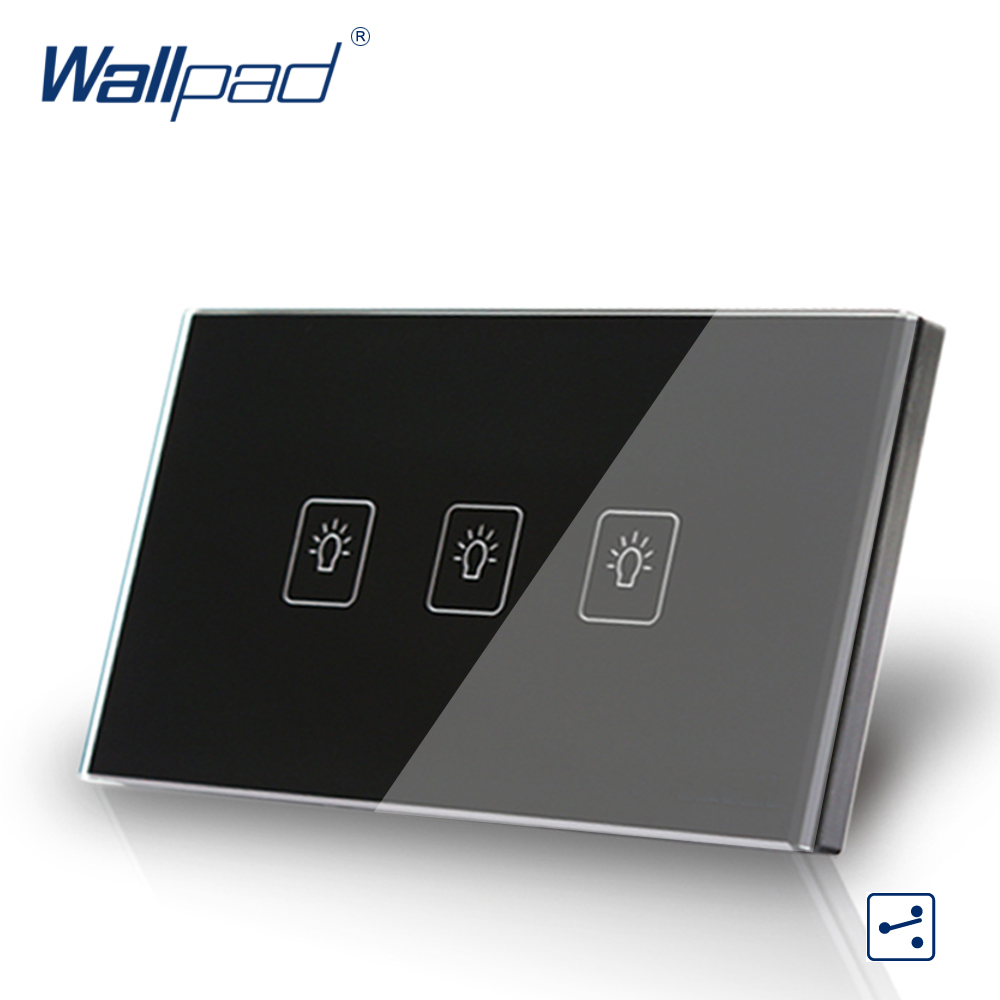 3 Gang 2 Way 3 Way Black 110V-240V AU US Standard 118*72mm Wallpad Crystal Glass Touch Wall Switch Panel  Free Shipping us wallpad 2 gang crystal glass black touch wifi light switch 118 wireless remote control wall touch light switch free shipping