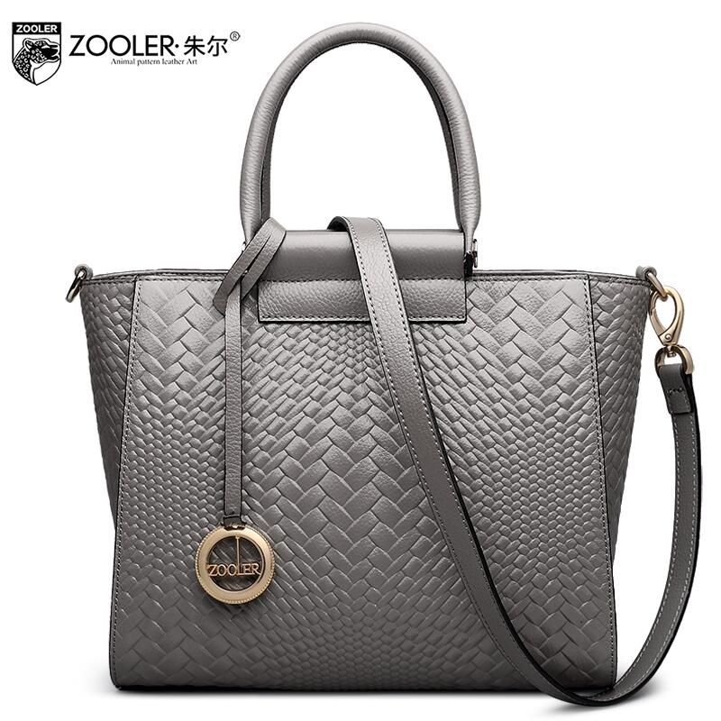 ZOOLER Women bag New Superior cowhide leather bag brands fashion Lingge weaving Genuine Leather Tote women