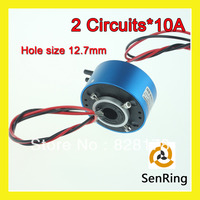 Mini conector de união rotativa 2 circuitos de 10A com furo size12.7mm através do orifício do anel de deslizamento|circuit|circuit connectors|circuit ring -