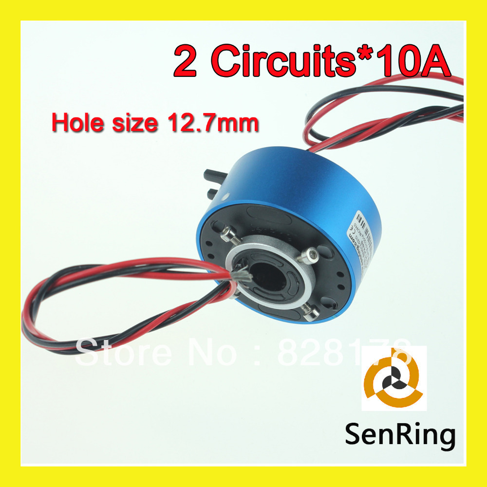 Mini rotary joint connector 2 circuits 10A with bore size12.7mm of through hole slip ring hole hole live through this