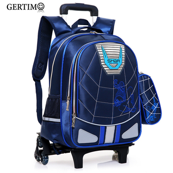 Trolley Children Waterproof School Bags for Boys Spiderma Backpack Wheeled Kids Schoolbag Student Luggage Bags Mochila Infantil new children trolley school backpack wheels travel bags climb stair schoolbags kids trolley bookbags detachable mochila escolar