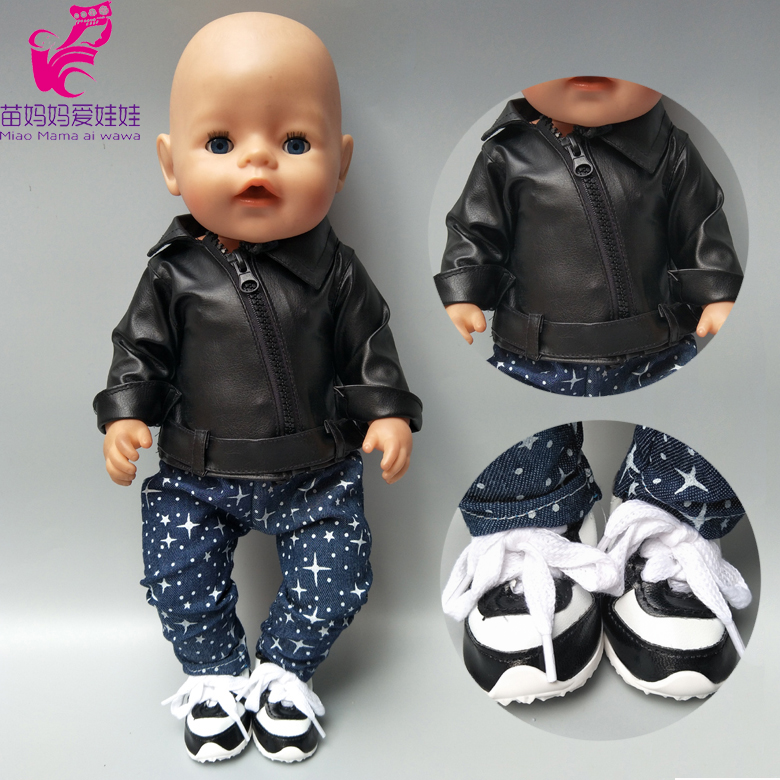 baby doll clothes for 43 cm born Babies doll coat black PU leather doll jacket for 40 cm 38 cm baby doll clothes drop shipping