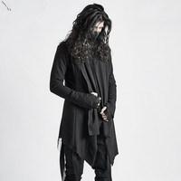 Raw Edge Design Single Layer Thin Coat Slim Tide Male Autumn Personality Gothic Dark Cloak Robes Long Coat Men Steampunk