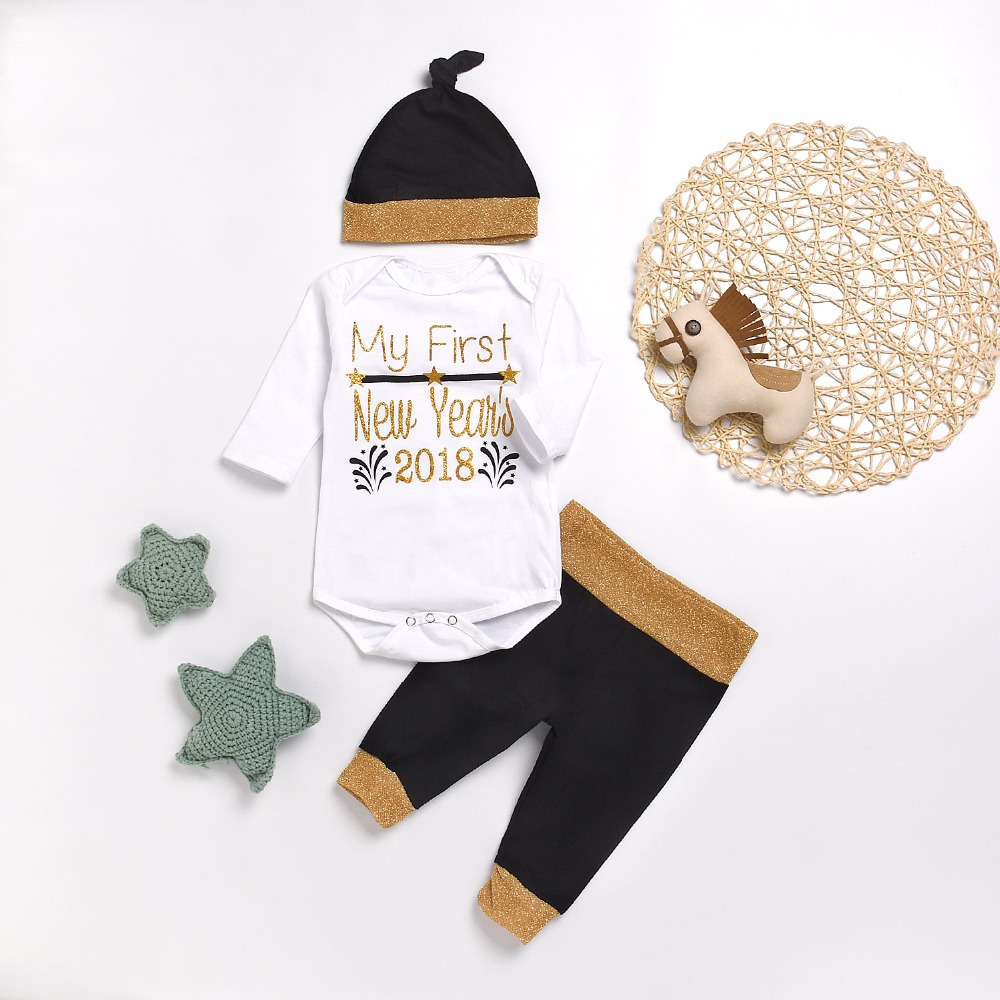 MY FIRST NEW YEAR 2018 Baby Clothing Set For Boys Cotton Long Sleeve Romper Tops Pants Caps 3pcs Outfit Fall Winter Kids Clothes 2017 baby clothes set my little boss long sleeve cotton t shirt tops and pant trouser 2pcs outfit bebek giyim clothing set