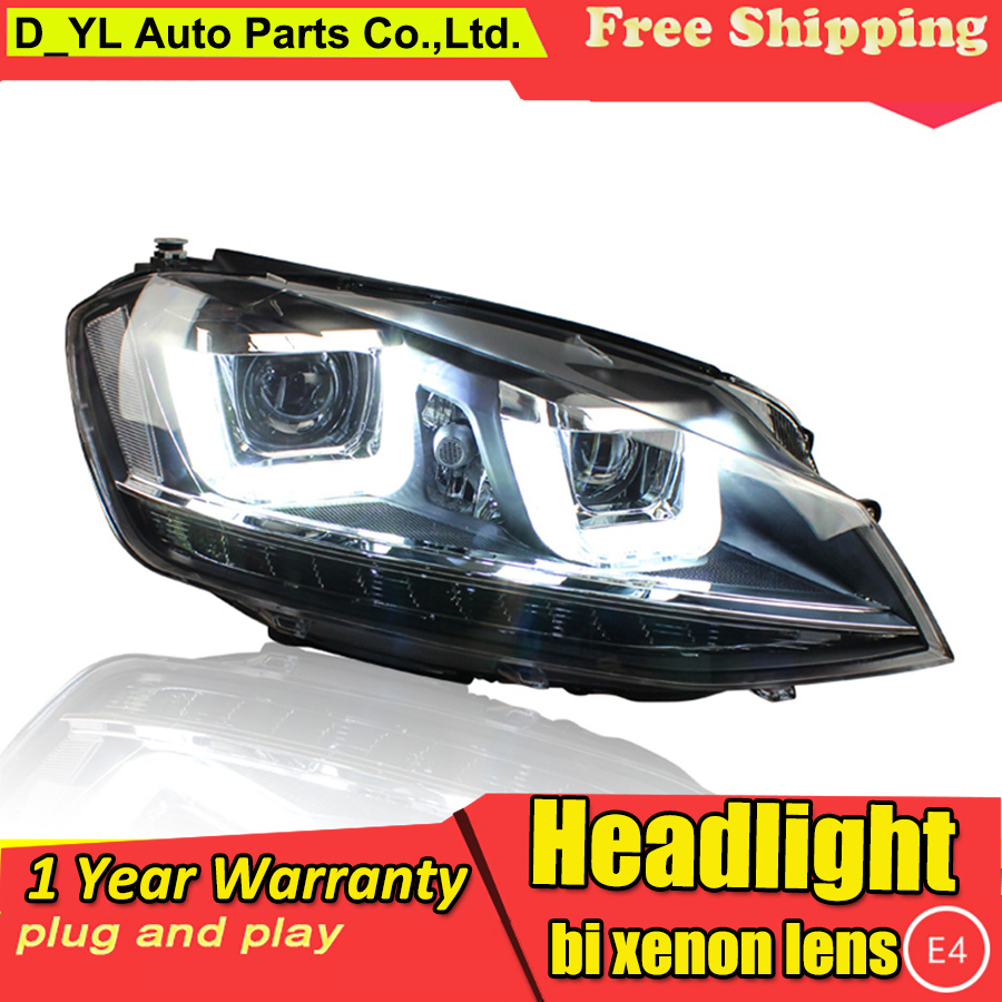 DYLCar Styling Headlight for VW GOLF 7 MK7 2014 2016 Headlights LED Head lamp DRL Lens