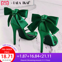LALA IKAI Women Sandals High Heels Summer Wedding Heeled Sandals Sexy Butterfly knot Silk Party Ladies Sandals XWC1868 5