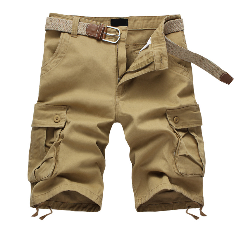 Cargo-Pants Sash Pocket Loose Military Camouflage Summer Casual Solid Homme Knee-Length