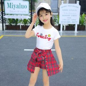 Image 4 - Ensemble fille vêtements enfants été enfants vêtements ensembles Smiley visage T Shirt + rouge grille pantalon coton filles vêtements 10 12 ans tenues
