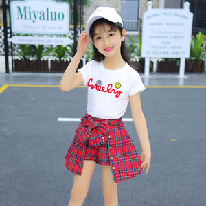 Image 4 - Girl Set Clothing Children Summer Kids Clothing Sets Smiley Face T Shirt+red Grid Pants Cotton Girls Clothes 10 12 Years Outfits