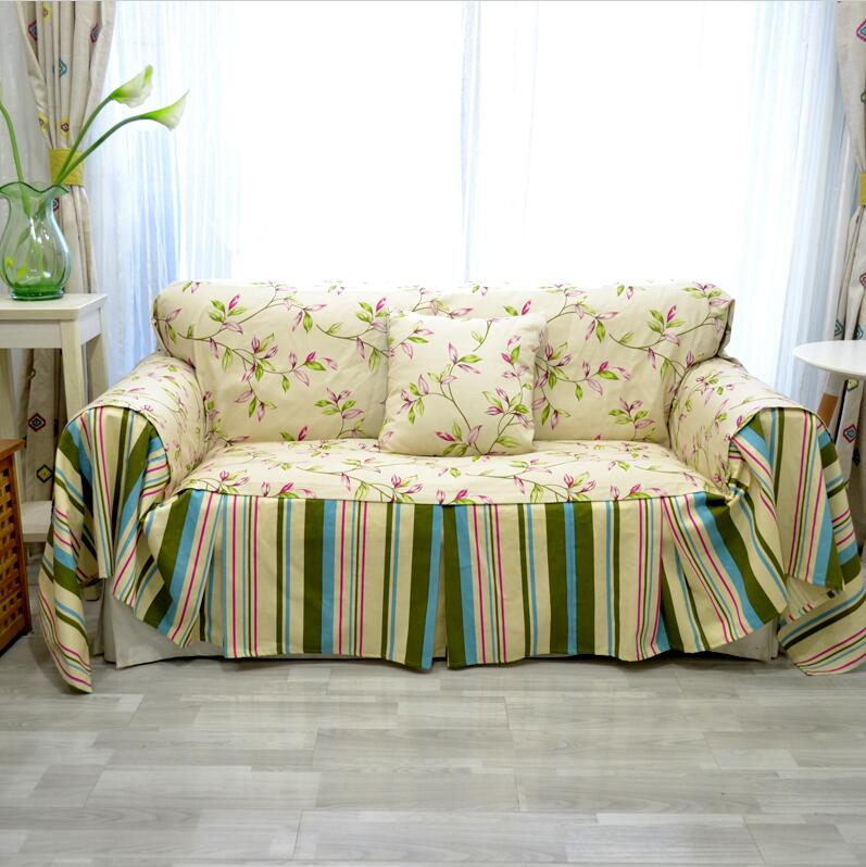 Spring pastoral decorative sofa cover floral leaf design sofa ...