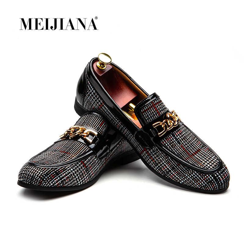 MEIJIANA 2019 ใหม่ลื่นบน Loafers ชายหนังผู้ชายรองเท้างานแต่งงานแฟชั่นผู้ชายผู้ชายรองเท้า Handmade Loafers