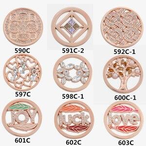 Image 3 - Biżuteria vinnie design 33mm Rose złota moneta tarcza fit 35mm rama wisiorek mieszane style hurtownie