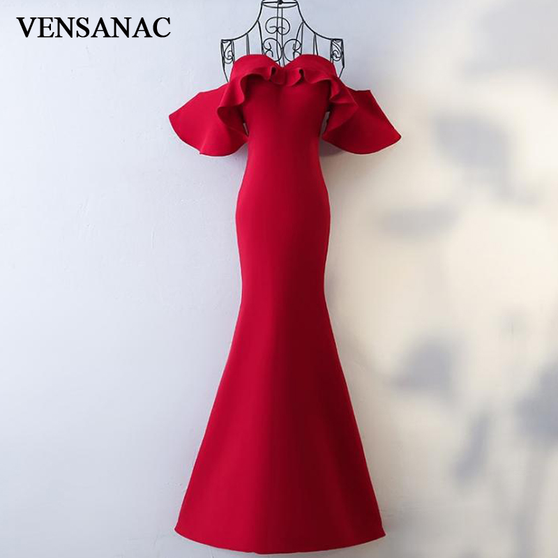 VENSANAC 2018 Ruffles Sweetheart Satin Mermaid Long Evening Dresses Vintage Party Short Sleeve Backless Prom Gowns