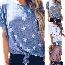 купить Womens Summer Star Print Bow-Tie Short Sleeve Casual T Shirt Tops Ladies Loose Tee по цене 198 рублей