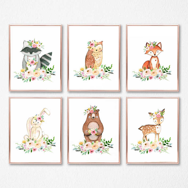Flower Woodland Animals Canvas Painting Nursery Wall Art Picture , Watercolor Cute Animal Print and Poster Baby Girls Room Decor