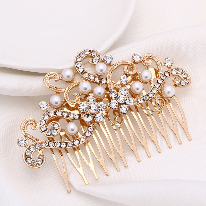 Rhinestone Wedding Bridal Hair Combs Women Prom Hair Ornaments Gold Flower hair combs for bride Wedding Hair Jewelry Accessories