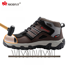 Modyf men winter warm steel toe cap work safety shoes casual reflective breathable outdoor boots puncture proof footwear