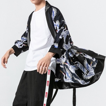 Male Yukata 2019 New Arrival Samurai Kimono Cardigan Men Boho Kimonos Japones Mens Haori Obi Shirt Japanese Kimono Men FF2124