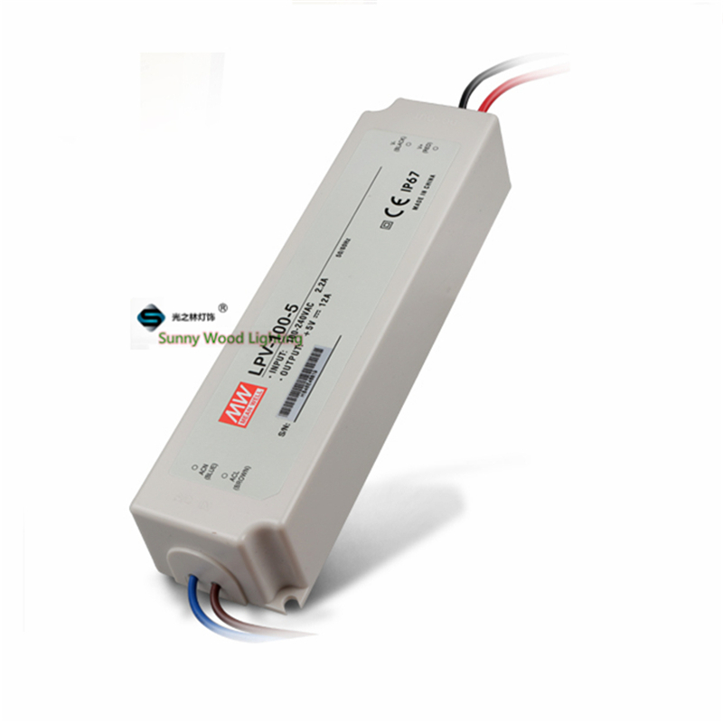100-240Vac to 5VDC ,60W ,5V12A  IP67 power supply ,outdoor Led light,led signboard waterproof driver ,LPV-100-5 90w led driver dc40v 2 7a high power led driver for flood light street light ip65 constant current drive power supply