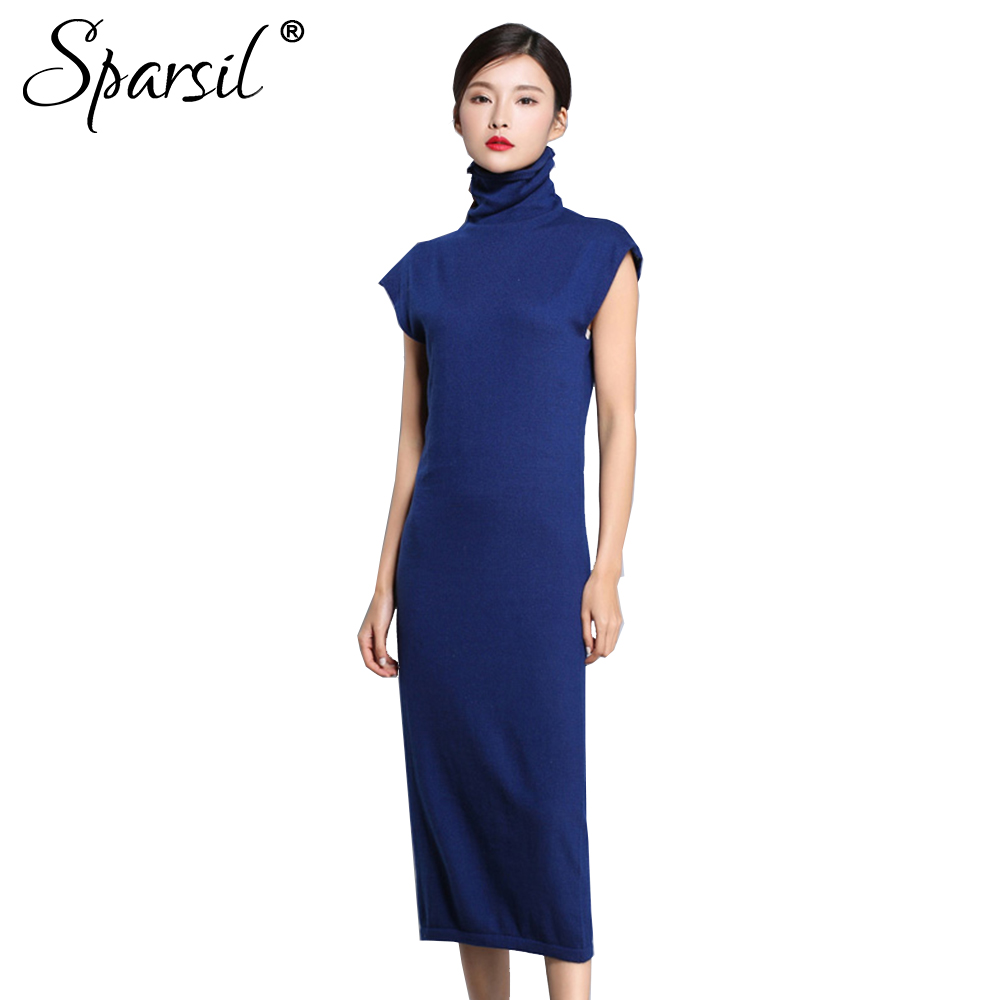 Sparsil Women Autumn Sleeveless Wool Knitted Dresses Turtleneck Pile Heap Collar Long Sweater Dress Female Solid Soft Vestido