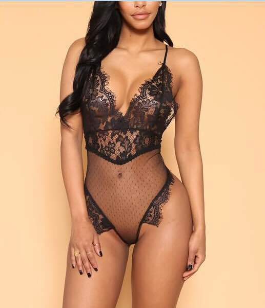 Sexy Transparent Floral Deep V Neck Backless Lace Mesh Bodysuits 2018 Summer Women Spaghetti Strap Skinny Romper Jumpsuit Female