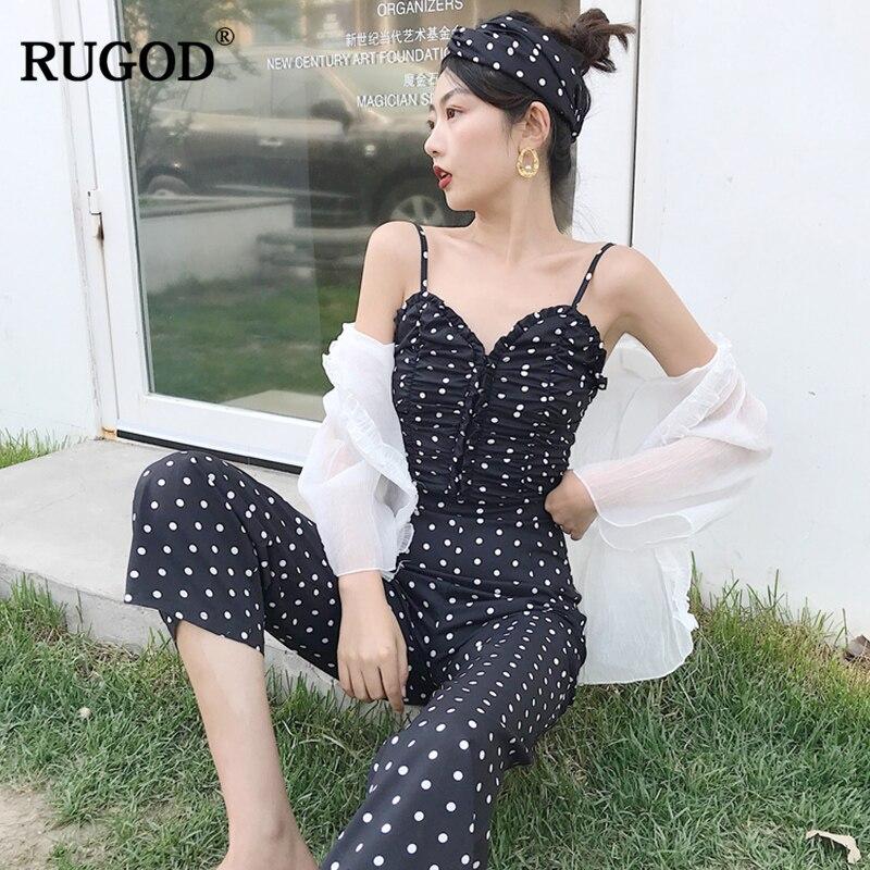 RUGOD Elegant Women Dot Jumpsuit Office Lady Female High Waist Wide Legs Slash neck Lady Jumpsuit 2018 rompers womens jumpsuit