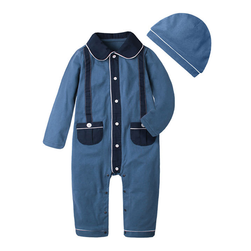 2018 New Fashion Baby Boy Clothes Long Sleeve Cotton Jumpsuit +Hat 2PCS Outfit Toddler Infant Rompers Kid Newborn Clothing baby rompers 2017 new arrival cotton infant clothing long sleeve baby boy and girl body jumpsuit ropa bebe newborn clothes