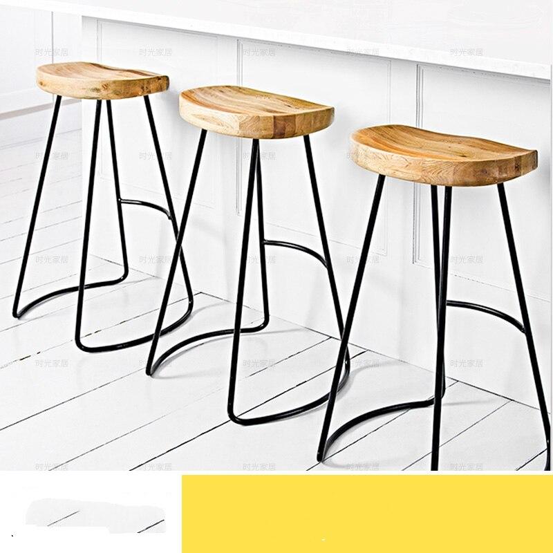 Métal fer en bois moderne maison fer bois Bar chaise tabouret mode café Bar chaise tabouret
