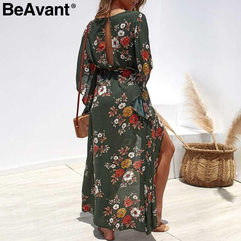BeAvant зеленый цветочный принт бохо платье женское летнее Sash Сплит шифон Макси платья Асимметричный праздник пляжное Длинное Платье женское