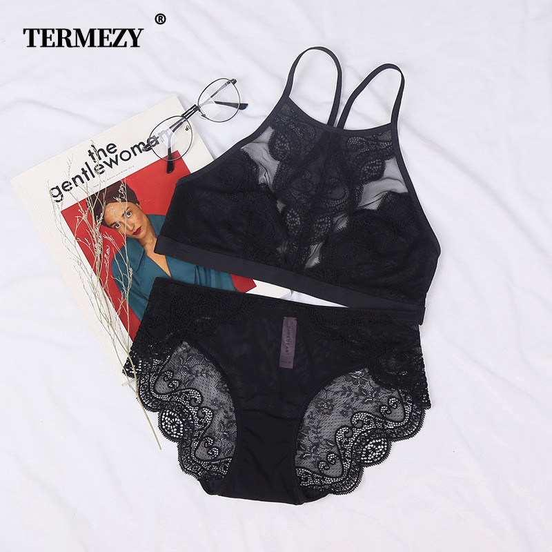 TERMEZY Sexy lace lingerie Full cup Bralette   bra     brief     sets   Victoria Underwear thin cup brassier fashion underwear for women