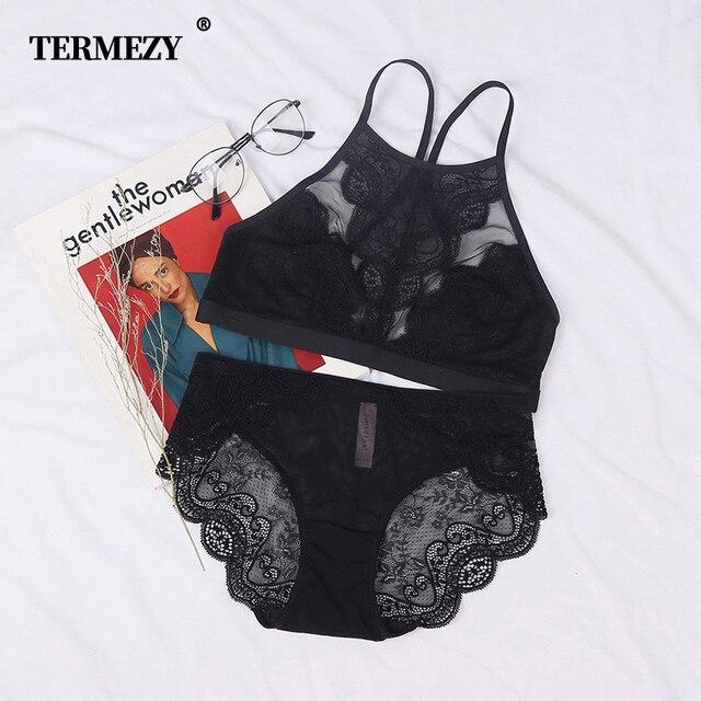 TERMEZY ren lót Full Cup Áo Bralette Áo ngực ngắn gọn Bộ Quần Lót Quần Lót mỏng cúp brassier đồ lót thời trang cho nữ