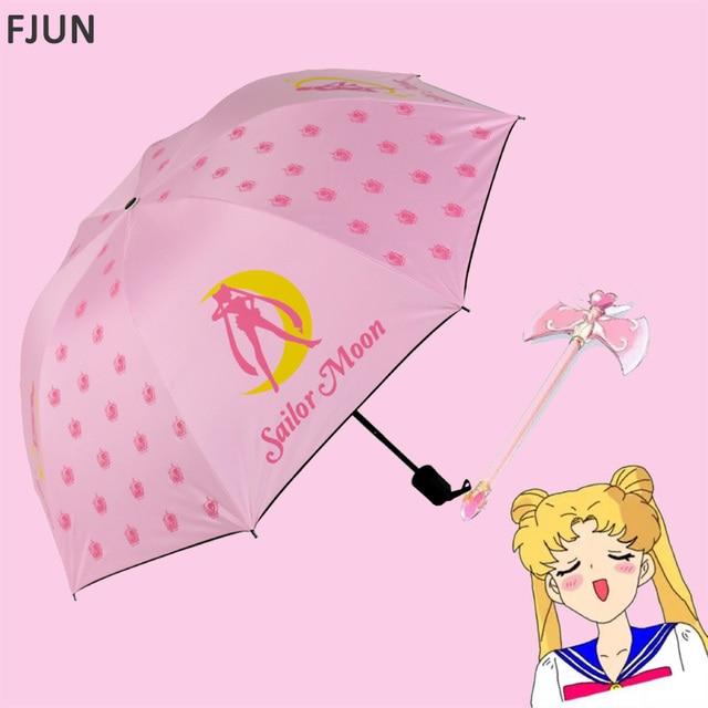 ea2e934b1c29 US $12.88 29% OFF|Three Folding Sailor Moon Umbrella beautiful girl  creative funny parasol Gift large sun Umbrella rain Women girl kids  paraguas -in ...