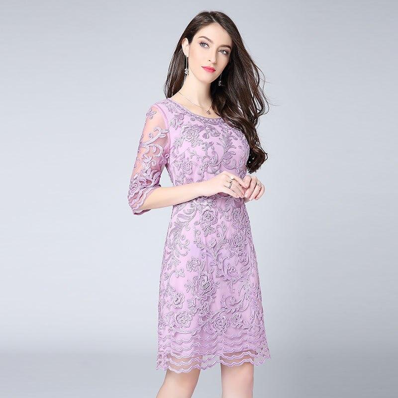 Rouge violet élégant grande taille printemps été robes 2018 femme Allover Lux broderie droite genou longueur robe tenues fête