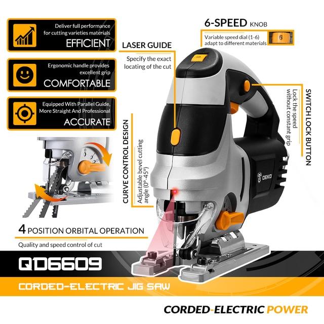 DEKO  Jig Saw Laser Electric Saw Metal Ruler, Allen Wrench Jigsaw Power Tools DKJS80Q1 800W/DKSS02 350W/DKJS80Q3 600W 2
