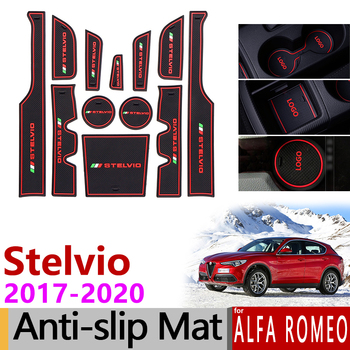 Alfombrillas antideslizantes de goma para puerta, accesorios adhesivos para Alfa Romeo, Stelvio,...