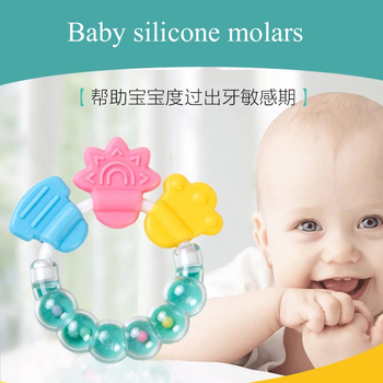 infant teething beads Baby rattle teether molar stick baby bell silicone bite tooth glue hand toy