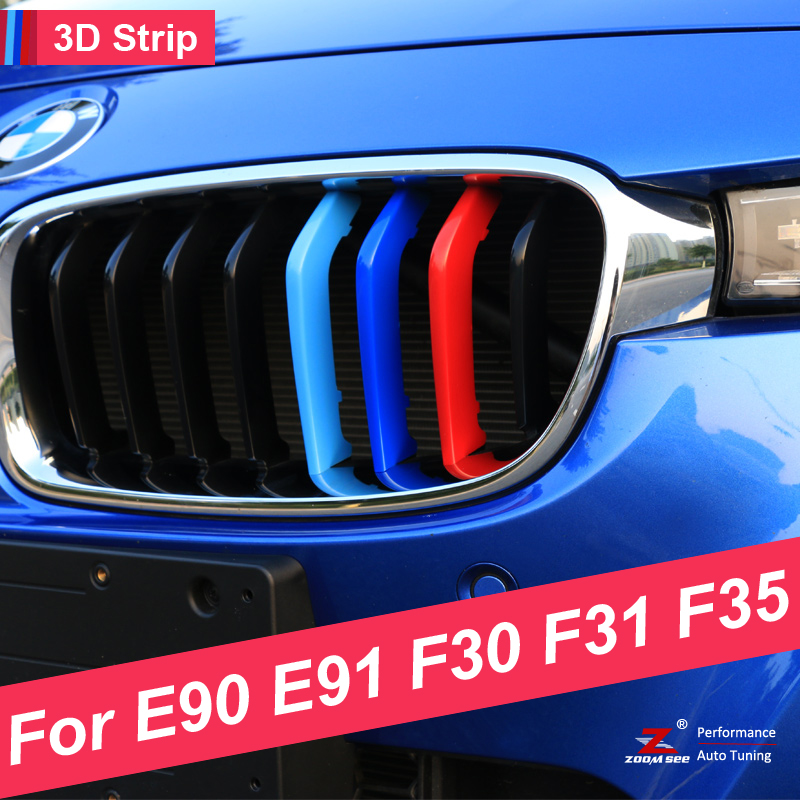 M Styling Car Front Grille sport Strip Grill Cover Performance Sticker for 2005-2017 BMW 3 Series E90 E91 F30 F31 F35 цена