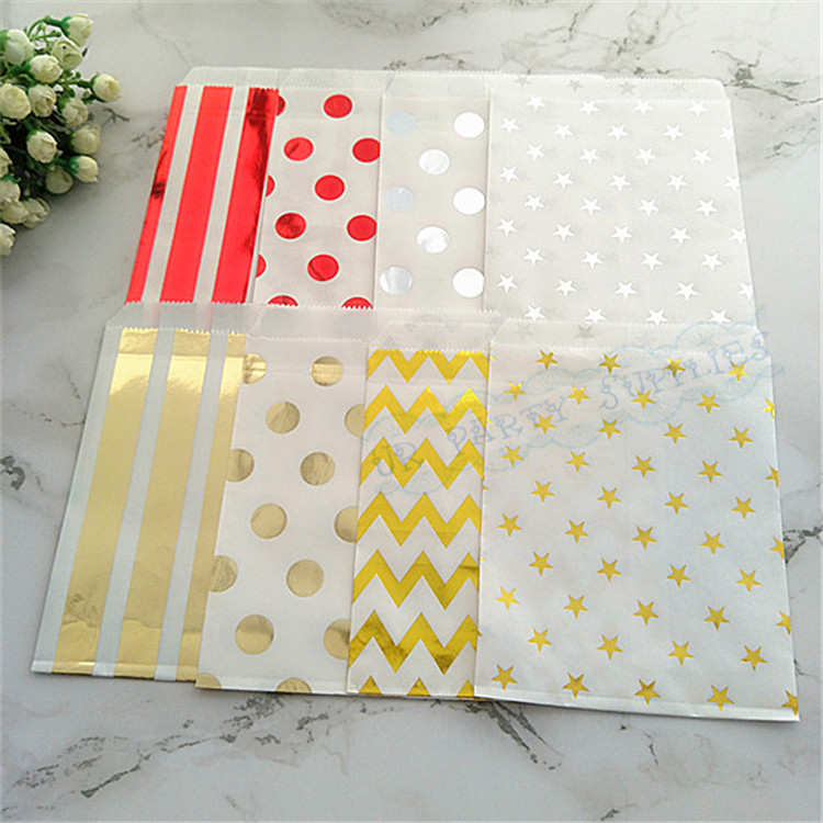500pcs Foil Cookie Paper Bags Girl Boy Baby Shower Metallic Gold Silver Candy Buffet Goody Bags