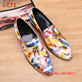 Fashion Colorful Feather Print Men Loafers Men Luxurious Leather Casual Shoes Gold Tassel Slip On Men Dress Party Wedding Shoes