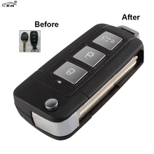 RIN New 3 Buttons + Panic Modified Flip Remote Key Shell for HYUNDAI Elantra Sonata Genesis Car Keys Cover Fob