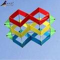 Nuevos juguetes 2015 marca alta calidad 3D Multicolor cometa enorme con cadena y manija Flying buena para el regalo