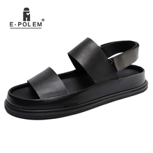 цена на Fashion Summer Men Genuine Leather Black Sandals Rome Gladiator Male Casual Platform Sandal Shoes High Quality 2018