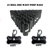 NEW 42 Rolls Dog Waste Bags with 2 Dispenser and Leash Clip Poop Bag Pet Durable Refill Black Pooper Scoopers