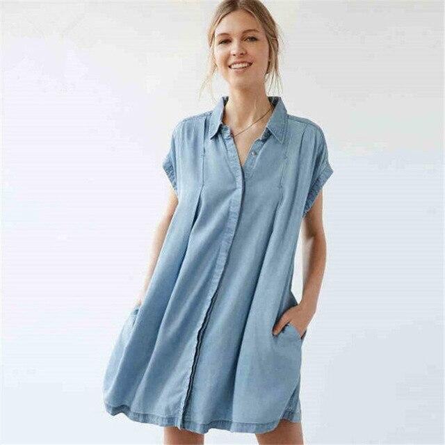 New Casual Denim Shirt Dress Women Short sleeve Loose Slim Summer ...