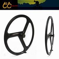 Cheap 38mm Depth Carbon Tri 3 Spoke Wheel Front Wheel For Road Fix Bike 700C Tri