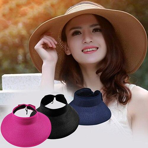 Hot Women Girl Summer Sun Visor Foldable Roll Up Wide Brim Straw Stripe Hat Cap